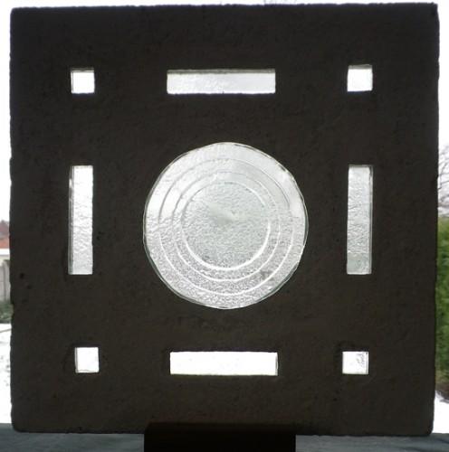 Série silence, Dalle de verre – fusing - béton, 35 X 35 cm, 2008