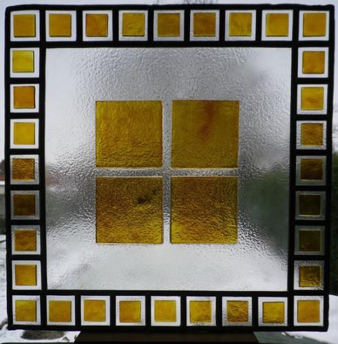 Série silence, Verre -Fusing – jaune d'argent et plomb, 45 X 45 cm, 2008