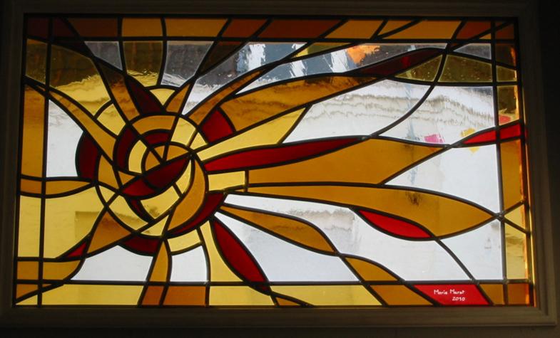 Imposte de porte d'entrée, 96 X 60 cm, verres soufflés, Comines, 2010