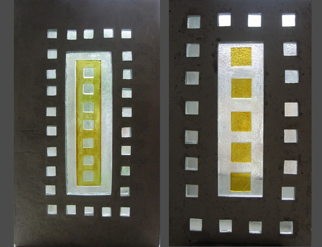 Série silence, Dalle de verre – fusing – jaune d'argent - béton, 54 X 32 cm, 2008