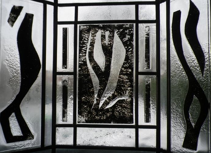 Triptyque, 51 X 35 cm, Sans titre, fusing, inclusion de métal et plomb, 2009.